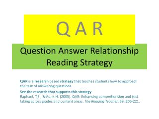 Question Answer Relationship Reading Strategy