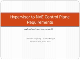 Hypervisor to NVE Control Plane Requirements