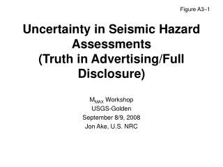 Uncertainty in Seismic Hazard Assessments (Truth in Advertising/Full Disclosure)
