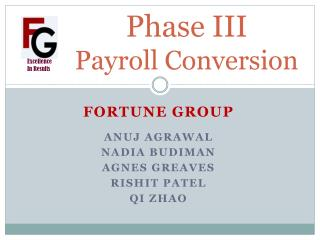 Phase III Payroll Conversion