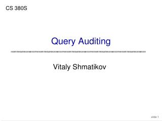 Query Auditing