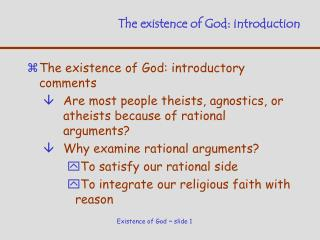 The existence of God: introduction