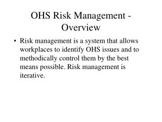OHS Risk Management - Overview