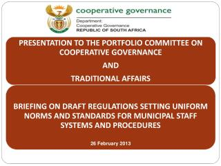 Purpose of Presentation  Background Briefings to the Portfolio Committee