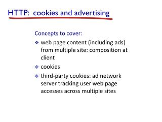 HTTP:  cookies and advertising