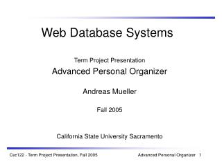 Web Database Systems