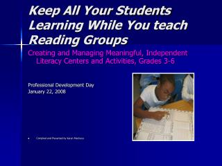 Keep All Your Students Learning While You teach Reading Groups