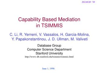 Capability Based Mediation in TSIMMIS