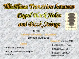 The Phase Transition between Caged Black Holes and Black Strings