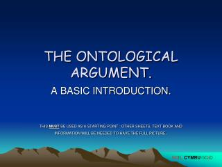 THE ONTOLOGICAL ARGUMENT.