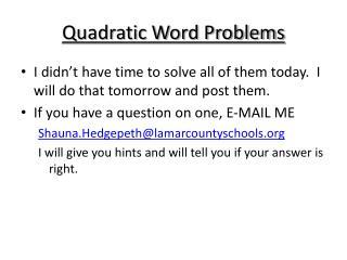 Quadratic Word Problems