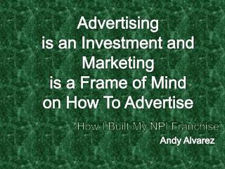 Advertising  is an Investment and Marketing  is a Frame of Mind  on How To Advertise