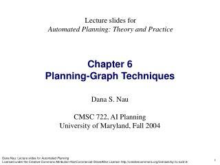 Chapter 6 Planning-Graph Techniques