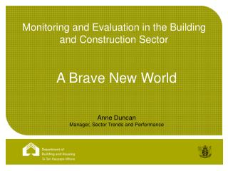 Monitoring and Evaluation in the Building and Construction Sector