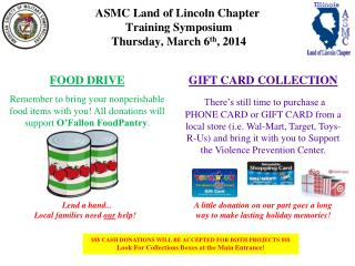 ASMC Land of Lincoln Chapter  Training Symposium  Thursday, March 6 th , 2014