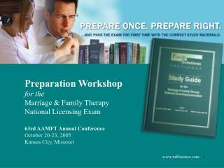 Preparation Workshop for the Marriage & Family Therapy National Licensing Exam