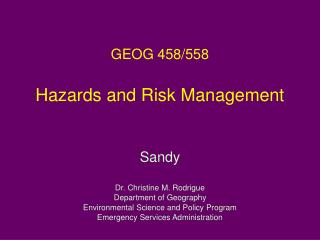 GEOG 458/558 Hazards and Risk Management