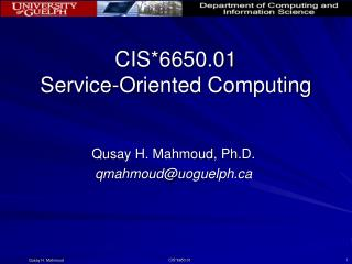 CIS*6650.01 Service-Oriented Computing
