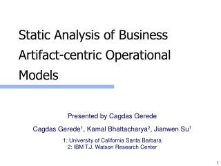 Static Analysis of Business Artifact-centric Operational Models