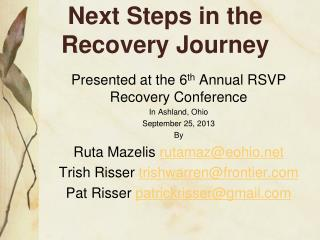 Next Steps in the Recovery Journey