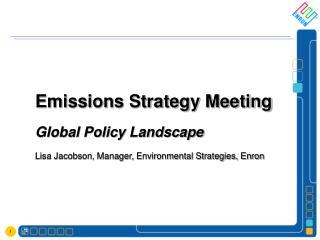 Emissions Strategy Meeting Global Policy Landscape