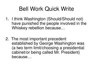 Bell Work Quick Write