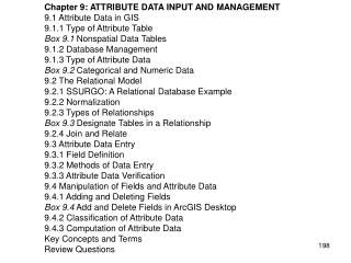 Chapter 9: ATTRIBUTE DATA INPUT AND MANAGEMENT 9.1 Attribute Data in GIS