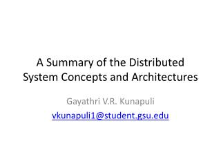 A Summary of the Distributed System Concepts and Architectures