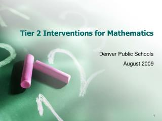 Tier 2 Interventions for Mathematics