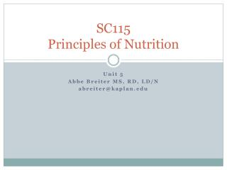 SC115 Principles of Nutrition