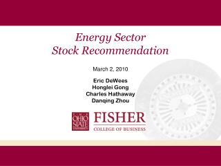 Energy Sector  Stock Recommendation