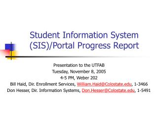 Student Information System (SIS)/Portal Progress Report