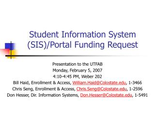 Student Information System (SIS)/Portal Funding Request