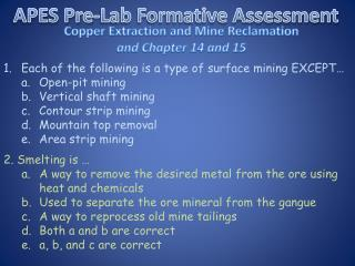 APES Pre-Lab Formative Assessment