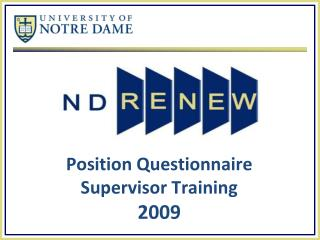 Position Questionnaire  Supervisor Training 2009