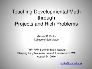 Teaching Developmental Math through Projects and Rich Problems