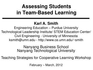 Assessing Students  in Team-Based Learning