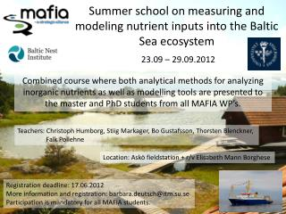 Summer school on measuring and modeling nutrient inputs into the Baltic Sea ecosystem