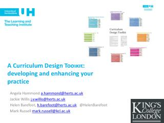 A Curriculum Design Toolkit: developing and enhancing your practice
