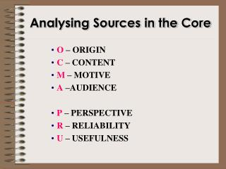 Analysing Sources in the Core