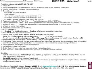 CURR 285:  Welcome!