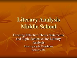 Literary Analysis Middle School