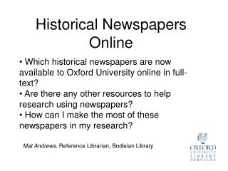 Historical Newspapers Online
