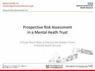 Prospective Risk Assessment  in a Mental Heath Trust