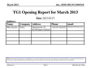 TG1 Opening Report for  March 2013