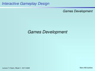 Games Development
