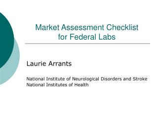 Market Assessment Checklist for Federal Labs