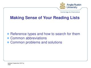 Making Sense of Your Reading Lists