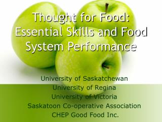Thought for Food:  Essential Skills and Food System Performance