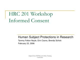 HRC 201 Workshop Informed Consent